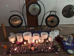 soundbath equipment in yoga studio