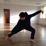 Lady doing yoga movement